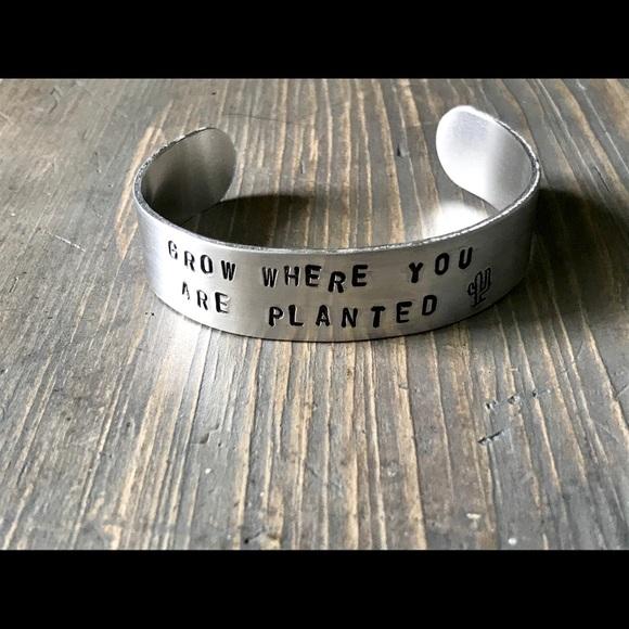 handmade Jewelry - Hand stamped adjustable metal cuff bracelet